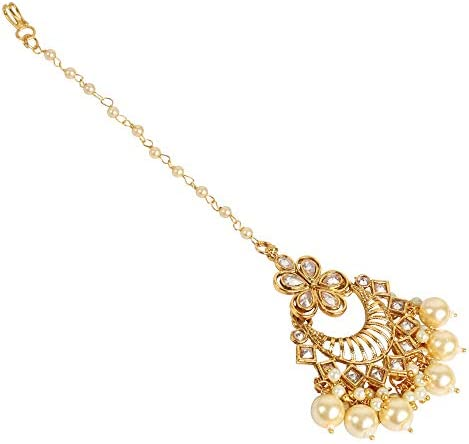 GLINT STORE Indian Girl Pearl Teeka Bridal Maang Tikka for Wedding Indian Jewelry for Women
