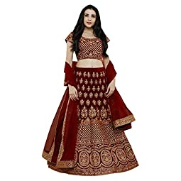 Ethvilla Women's Silk Semi-stitched Lehenga Choli