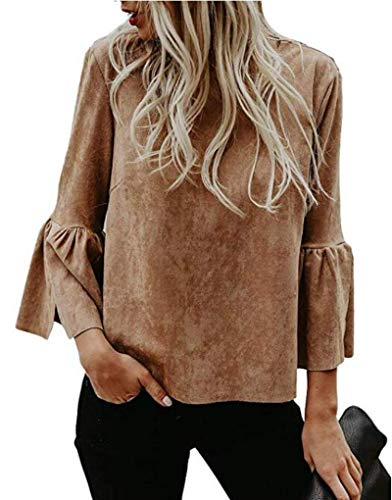 Bigyonger Womens Blouses Solid Flare Bell 3/4 Sleeves Casual Boho Shirt Tops Brown -