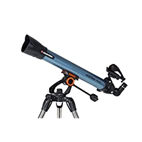Celestron Inspire 70AZ Refractor Smartphone Adapter Built-In Refracting Telescope, Blue (22401)