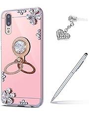 ikasus - Carcasa para Huawei P20 con diamantes de imitación y diamantes de imitación, soporte para anillo, soporte de TPU y tapón antipolvo para lápiz táctil, Rose gold, Huawei P20
