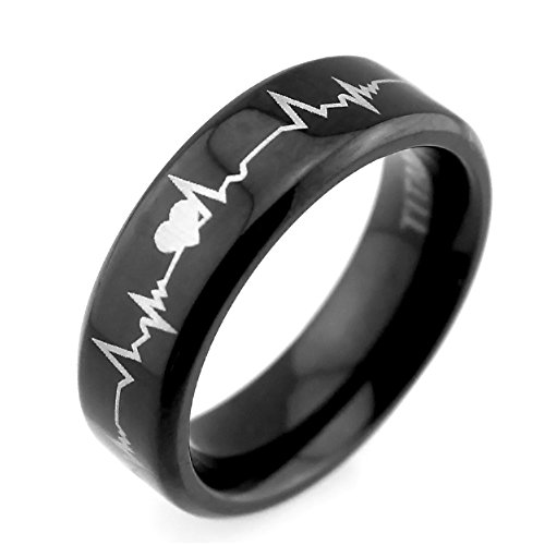 [❤Lifetime Love❤ 6mm Matching Black Titanium Rings Cardiogram Laser Engraved Top Polished Finished Wedding Bands] (Matching His And Her Costumes)