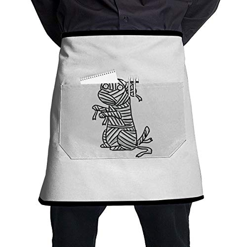 Lao Yang Mai Dog Halloween Mummy BBQ Waiter Housekeeper Pet Grooming Bartender Kitchen Beautician Hairstylist Nail Salon Carpenter Shoeing Wood Painting Artist Pocket Half Apron -
