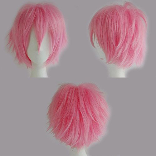 S-noilite Unisex Hinata Cosplay Short Straight Hair Wig Cool Anime Con Party Dress Heat Resistant Wigs (Short Pink Wig)