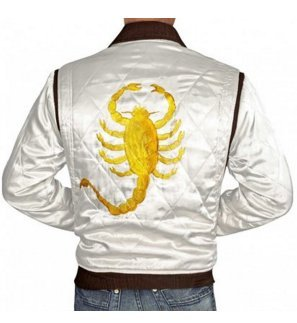 (Drive Film Jacket Ryan Gosling Ivory White Satin Cover Scorpion)