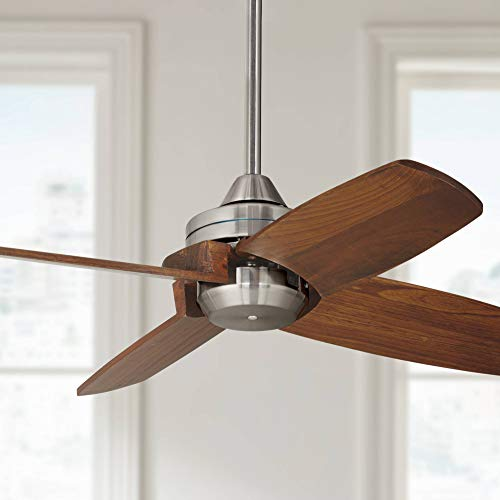 "32"" Pronto Modern Ceiling Fan Brushed Nickel Carved Wood Walnut for Living Room Kitchen Bedroom Family Dining - Casa Vieja"