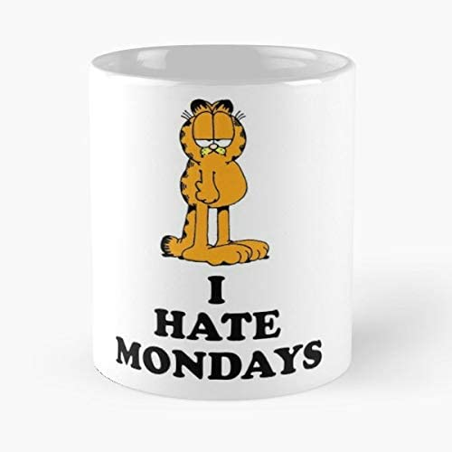 I Hate Mondays Classic Mug - The Funny Coffee Mugs For Halloween, Holiday, Christmas Party Decoration 11 Ounce White-hiholden.