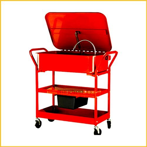 Washer Cart Electric Portable With Wheels For Mobile Parts Solvent Pump Drying Shelves Cleaning 20 Gallon Capacity - House Deals by House Deals (Image #3)