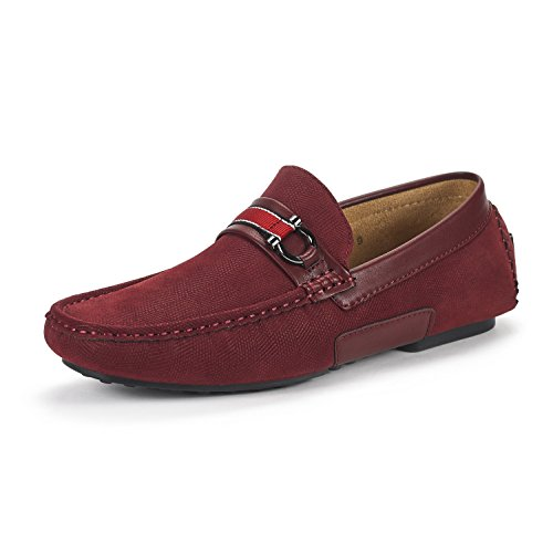 BRUNO MARC NEW YORK Men's Santoni-05 Burgundy Penny Loafers Moccasins Shoes Size 10.5 M US