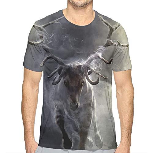 Cloud Animal Deer Men's Crew T-Shirt Soft Short Sleeve Summer Casual Short-Sleeve XL White ()