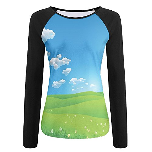 Weiding Cartoon Scenery Clouds Valley Hills Grass Sunbeams Flowers artprint Image Women's Stretchy Long Sleeve Raglan Tshirt XL
