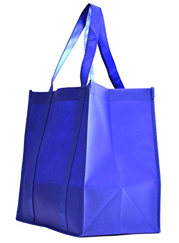 100 Pack Heavy Duty Grocery Tote Bag, Royal Blue Large & Super Strong, Reusable Shopping Bags with Stand-up PL Bottom, Non-Woven Convention Tote Bags, Premium Quality (Set of 100 (1BOX), Royal Blue)