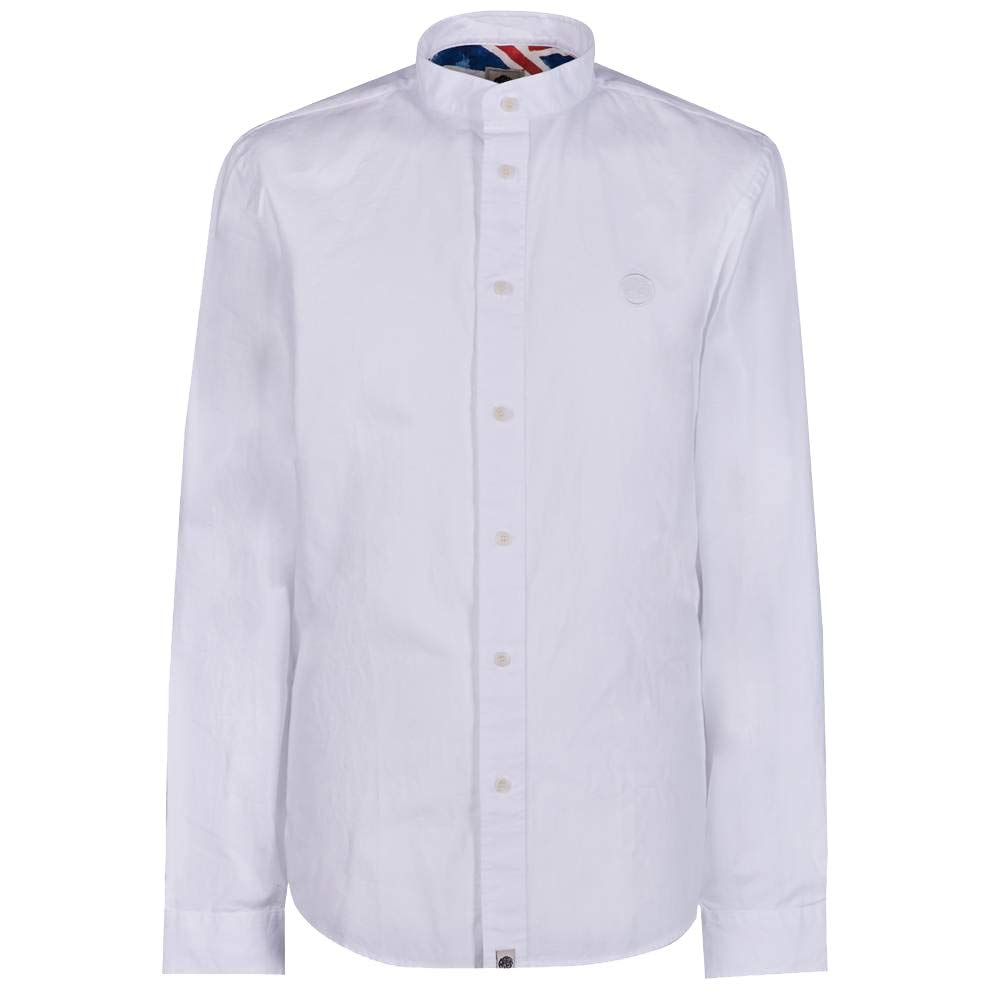 Pretty vert Slim Fit Collarless Shirt blanc