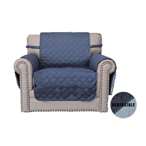 Easy-Going Sofa Covers, Slipcovers, Reversible Quilted Furniture Protector, Water Resistant, Improved Couch Shield Elastic Straps,Anti-Slip Foams, Micro Fabric Chair, Dark Blue/Light Blue -