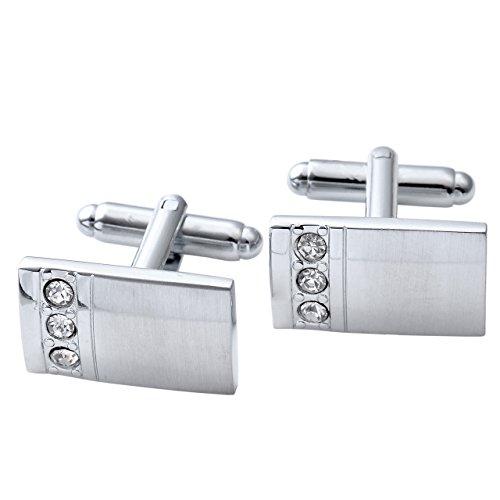 PiercingJ - 4 Paires Boutons De Manchette Chemise Mariage Business Acier Inoxydable Elegant Mixtes avec Boîte Cadeau Homme