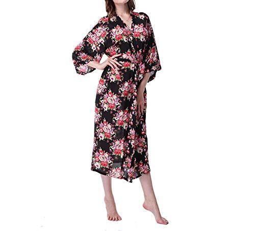 Vestido Longo Floral Kimono Robe Batas De Algodon Pajamas Cotton Dressing Sleepwear & Robe at Amazon Womens Clothing store: