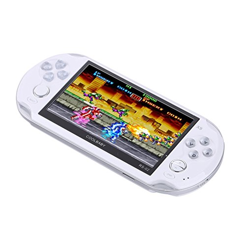 Handheld Retro Game Console,Leezo 1PC X9 Rechargeable 5inch 8G Built-in Game Classic Portable Retro Game Player Support TV Output With MP3 Movie Camera Birthday Gift for Kid - White by Leezo (Image #6)