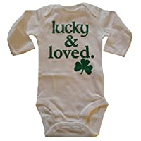 Custom Kingdom Baby Boys/Girls Lucky and Loved Irish Shamrock Long-Sleeved One-Piece Romper Bodysuit White (12 Months)