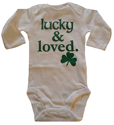Custom Kingdom Baby Boys/Girls Lucky and Loved Irish Shamrock Long-Sleeved One-Piece Romper Bodysuit White (6 Months) (Lucky Baby Names As Per Date Of Birth)