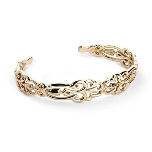 Carolyn Pollack Sterling Silver 14K Yellow Gold Plated Open Filigree Cuff Bracelet Size Medium