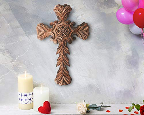 storeindya, Decorations Wooden Celtic Cross Long Wall Hanging French Cross Hand Carved Antique Design Religious Altar Home Living Room Decor Accessory (Design 3)
