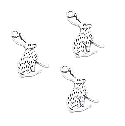 40pcs Vintage Antique Silver Alloy Rabbit Charms Pendant Jewelry Findings for Jewelry Making Necklace Bracelet DIY 26x14mm (40pcs Rabbit)