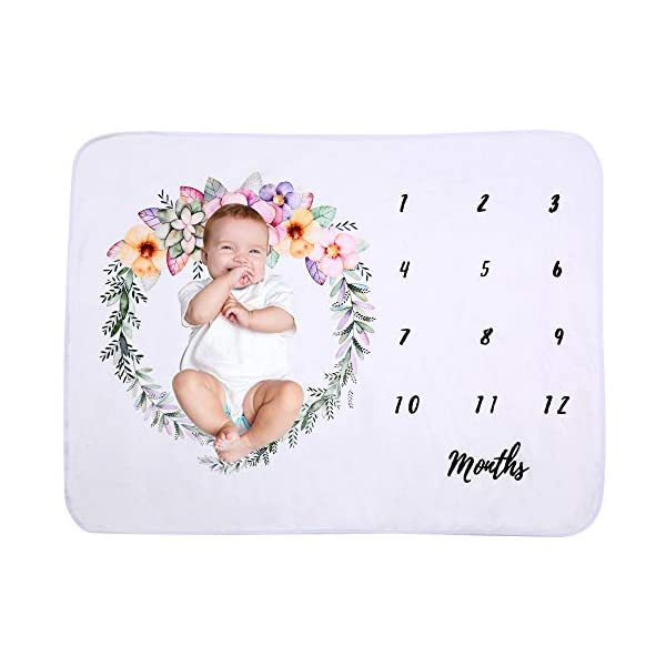 Baby Monthly Milestone Blanket Soft Flannel Fleece Photography Backdrop Props Blanket for Newborn to 12 Months Girls or Boys (40″ x 28″) (Style 3)