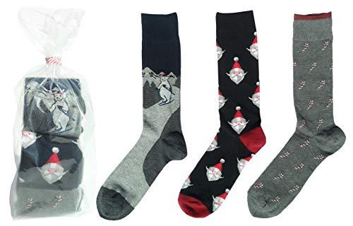 3 Pack Best Silly Novelty Sets of Christmas Santa Clause Themed Socks Stocking Stuffer Pracitcal Joke Gag Gift Idea 2019 for Men Teen Boys Xmas Skier Skiing Polar Bear Hunter