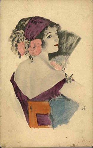 Hand Colored Woman in Purple Holding Fan Women Original Vintage Postcard