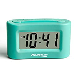 Reacher Small Digital Travel Alarm Clock - Display ON/Off, Simple Basic Operation,Easy Snooze,Backlight,2 AAA Battery Powered, Mint Green