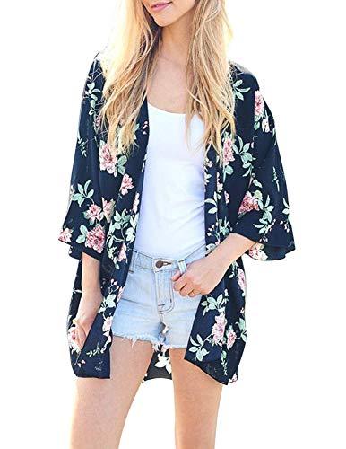 (Women Flowy Sheer Crop Sleeves Loose Chiffon Kimono Cardigan Blouse Top Blue XL)