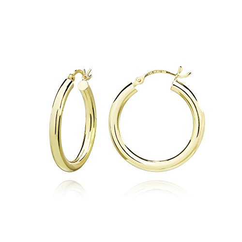 14K Gold High Polished 3x25mm Lightweight Small Round Hoop Earrings by Hoops & Loops