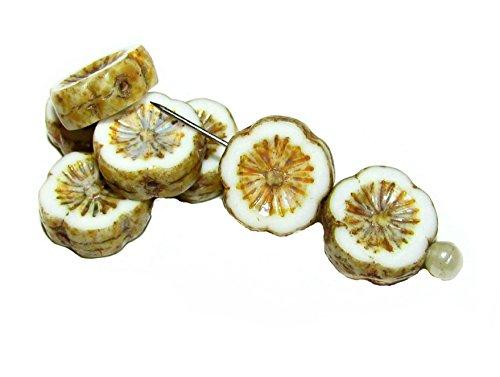 6pcs Czech Glass Beads Table Cut Flower 12 mm White Chalk Picasso