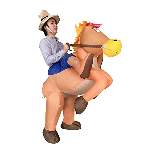 [Inflatable Cowboy Cowgirl Ride Horse Adult Fancy Halloween Party Couple Costume] (Third Leg Costume)