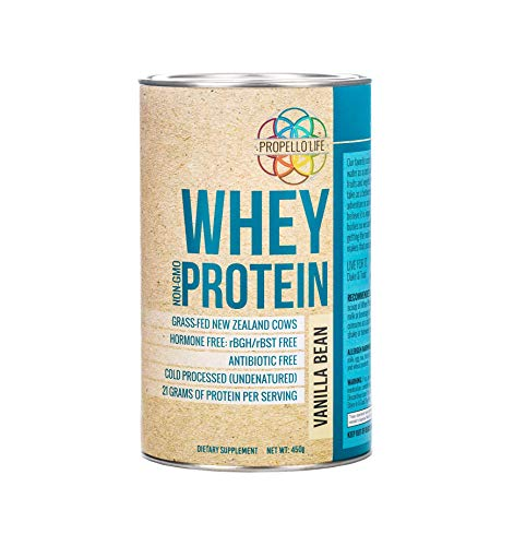 Propello Life Grass-fed Whey Protein Powder, Vanilla Bean, 450g