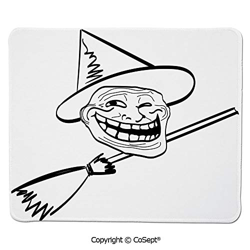 Mouse Pad,Halloween Spirit Themed Witch Guy Meme LOL Joy Spooky Avatar Artful Image,for Computer,Laptop,Home,Office & Travel(11.81