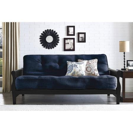 Better Homes and Gardens Wood Arm Futon with Coil Mattress, Navy Linen