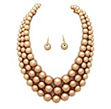Fashion 21 Women's Three Multi-Strand Simulated Pearl Statement Necklace and Earrings Set (Matte Gold)