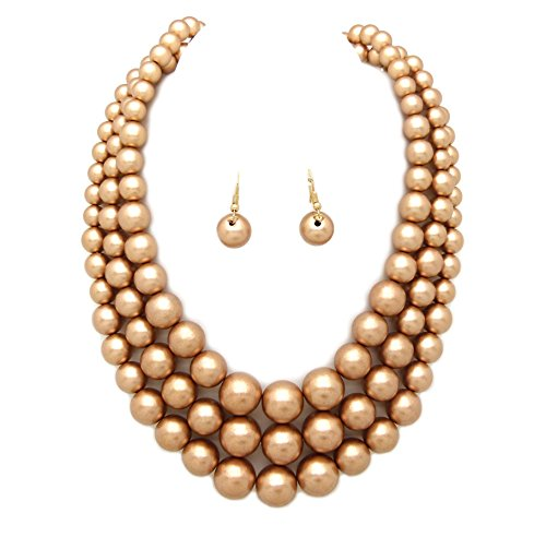 - Fashion 21 Women's Three Multi-Strand Simulated Pearl Statement Necklace and Earrings Set (Matte Gold)