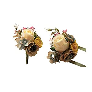 MOJUN Artificial Rose Flower Boutonniere Corsage Set Handmade Floral Silk Fabric for Grooms Groomsmen Bridal Bridesmaids Prom Party Wedding Decor, Beige 91