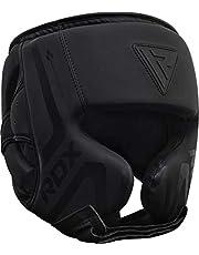 RDX Casco Protector Boxeo Entrenamiento MMA Fighting Headgear | Protector de Cara y Orejas de Muay Thai de Piel de Piel de convección Negro Mate | Ideal para Artes Marciales