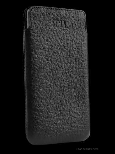 Custodia a Sacchetto Large in Pelle Morbida per Cellulari Nera