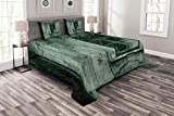 Lunarable Horror House Bedspread Set Queen Size, View of a Dramatic Haunted House Creepy Environment Mystery Rear Window Theme, Decorative Quilted 3 Piece Coverlet Set with 2 Pillow Shams, Sea Green