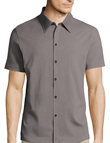 Hat and Beyond HB Mens Short Sleeve Slim Fit Button Down (X-Large/mx01_Charcoal) (Casual Business Hat)