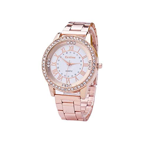 Hot Sale! Charberry Mens Diamond Gold Watch Crystal Rhinestone Stainless Steel Analog Quartz Wrist Watch (Rose Gold)