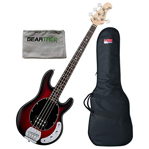 Sterling RAY4-RRBS-R1 Ray4 Ruby Red Burst 4-String Bass w/Gig Bag and Polish Cl