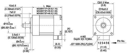 MOONS NEMA8 Motor paso a paso 0,5 A 0,032 Nm (4,53 oz-in) 2 fase ...
