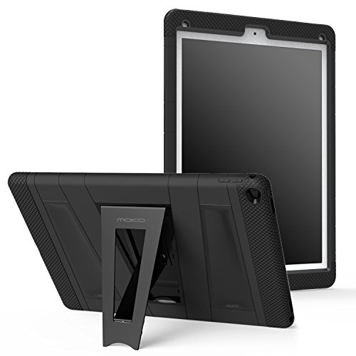 MoKo Case Fit iPad Pro 9.7 - [Kickstand] Durable Hybrid Silicone + Hard Polycarbonate Kid Proof with Foldable Stand Protective Cover Fit Apple iPad Pro 9.7 Inch 2016 Release Tablet, Black