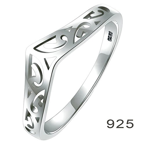 925 Sterling Silver Ring, BoRuo Filigree Thumb Chevron High Polish Comfort Fit Band Ring Size - Band Silver Sterling Filigree