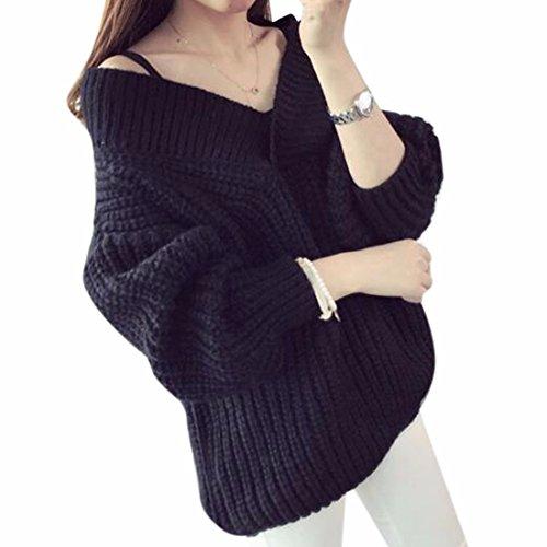 QIYUN.ZNiñas Bate Holgado Jersey De Gran Tamaño De La Vendimia Suéter De Cuello V Black